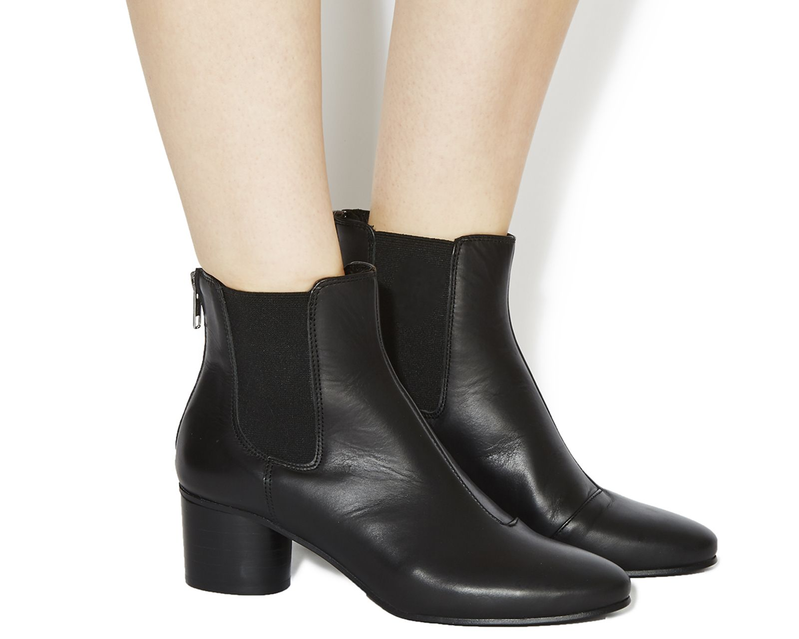Black Leather Office Ingot Back Zip Chelsea Boots From Co Uk