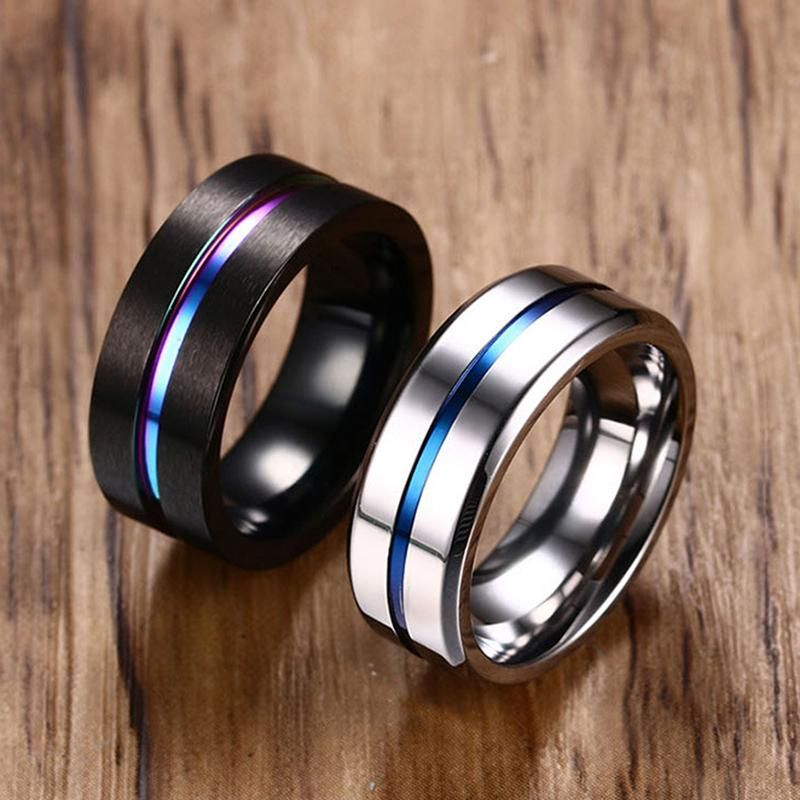 8mm Black Titanium Ring For Men Women Wedding Rings Jewelry In