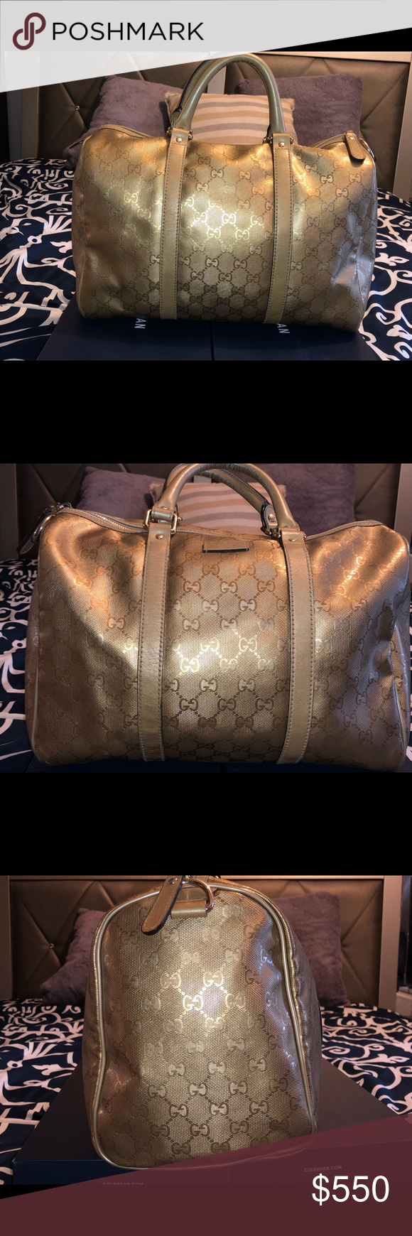 0eb7c3044725 Gucci Guccissima Metallic Gold Joy Boston This authentic Gucci Joy Boston  Bag GG Coated Canvas Medium