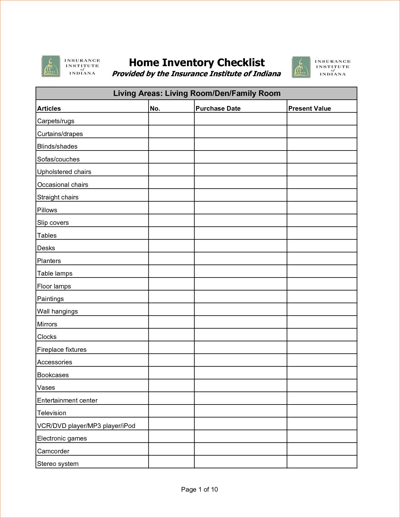 Medical Procedure List Fillable