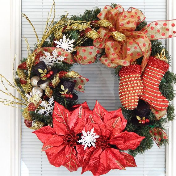 FREE SHIPPING Christmas Door Wreath, Holiday Wreath,Front Door Wreath, Seasonal  Wreath