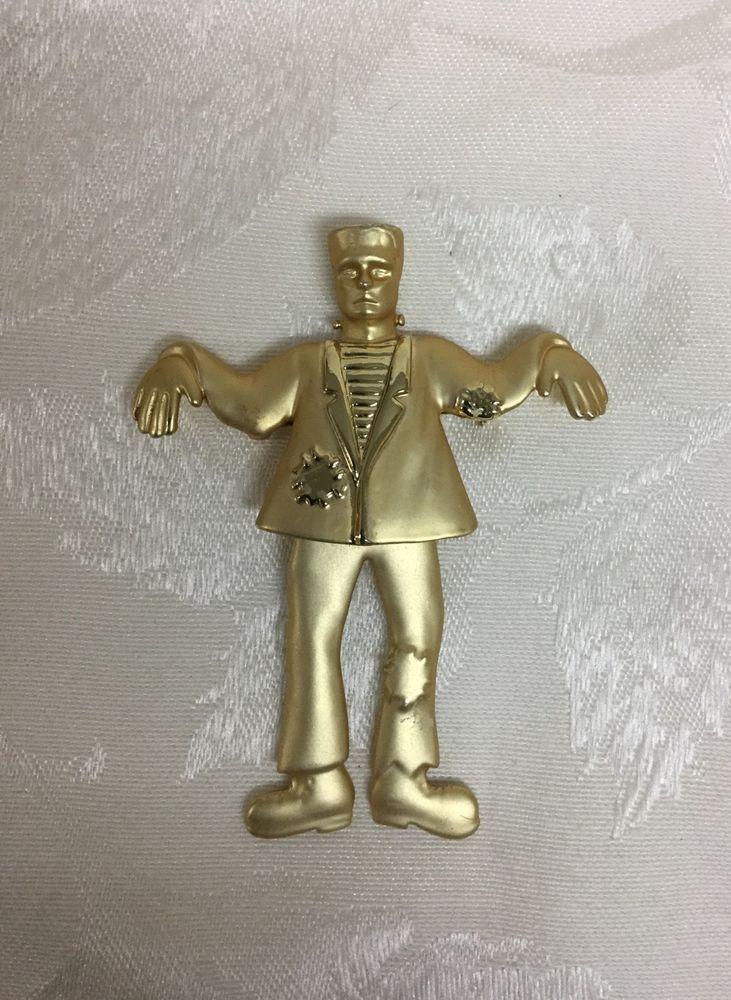 531931e1c Vintage Danecraft Frankenstein Monster Brooch Pin Gold Tone Segmented | eBay