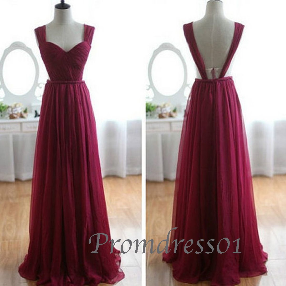 Cute wine red classical chiffon sweetheart straps open back prom