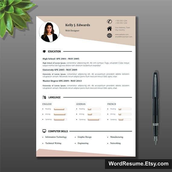 Resume Template, CV Template + Cover Letter + References and