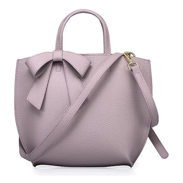 Purple Bow Decoration Leather Plain Tote Bag 20 Liked On