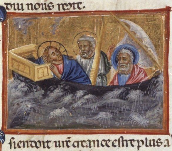 BNF  Français 187, fol. 7, Christ apaisant la tempête
