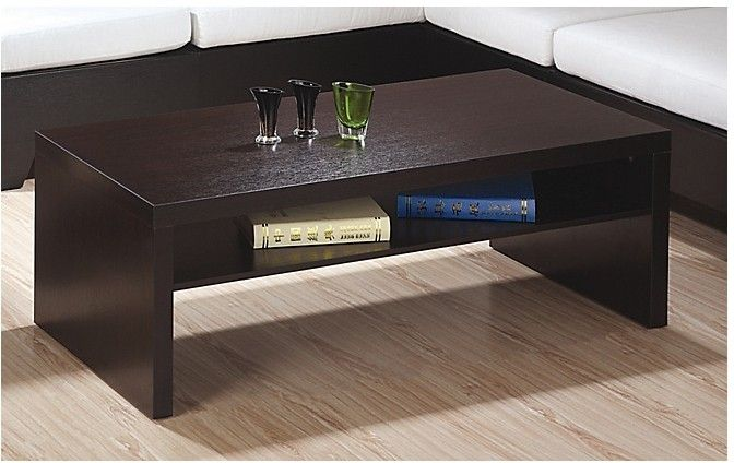 The espresso bean cocktail table features simple, bold modern lines in a rich coffee brown wood look finish.  Simple and functional, the table features convenient under-storage and its subtle styling goes well with most decors.