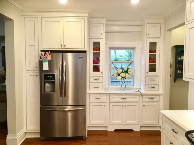 Showplace Cabinetry: White Paint With Pewter Glaze Concord Inset Door Style  With Five Piece Drawer Header