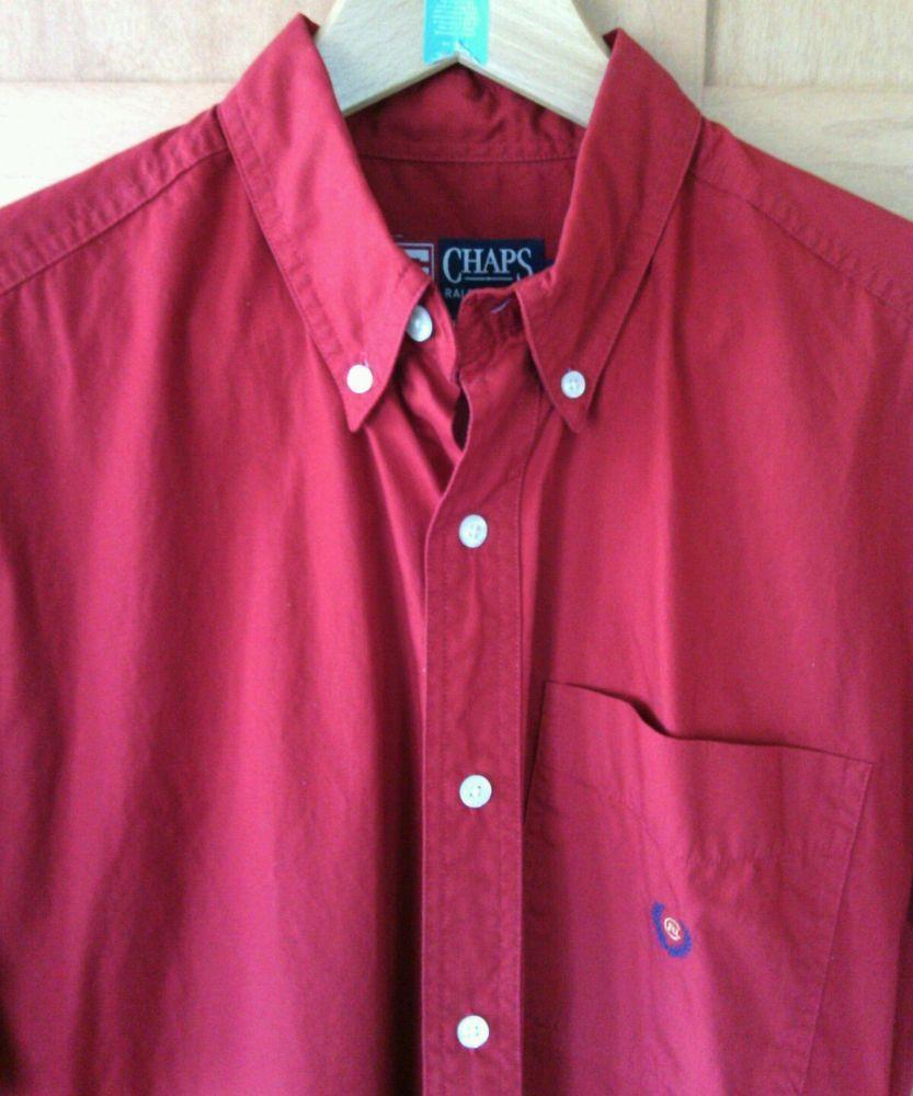 Casual pink dress shirt  Details about Chaps Ralph Lauren Menus Red Casual Shirt Size M Short