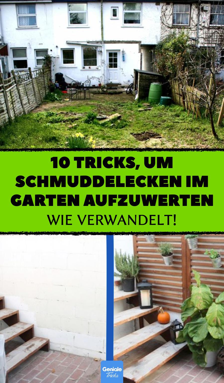 10 Tricks, Schmuddel-Ecken im Garten aufzuwerten. #gartenideen