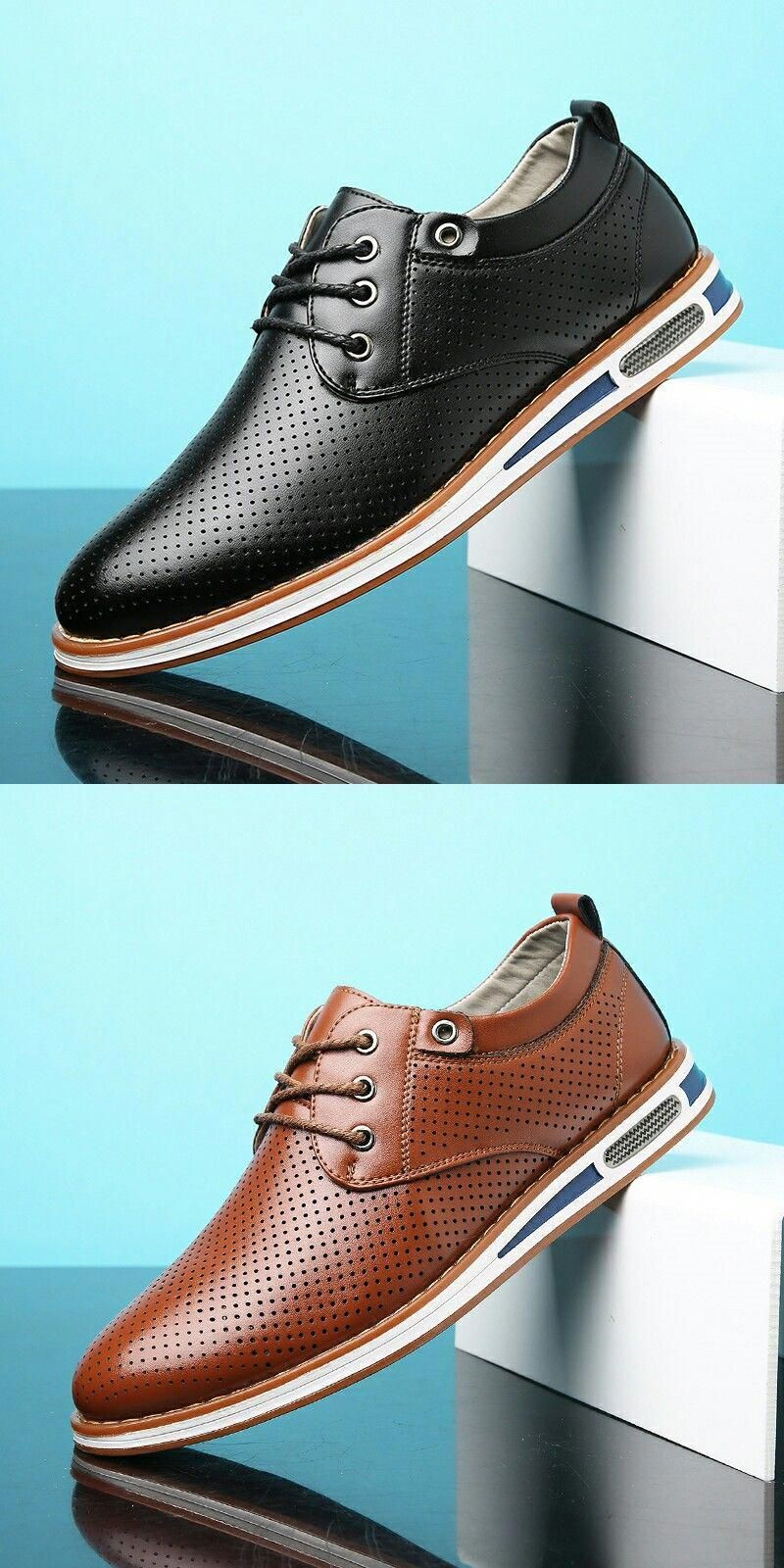 LL Mens Business Shoes Smooth PU Leather Splice Upper Lace Up Breathable Mesh Oxfords Fashion Slipper
