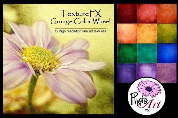 "TextureFX: Grunge Color Wheel(12""sq) Graphics This fine art texture set includes 12 high resolution textures 3600px x 3600px (12¡åx12¡å) @ 300ppi by PhotoArtFX"