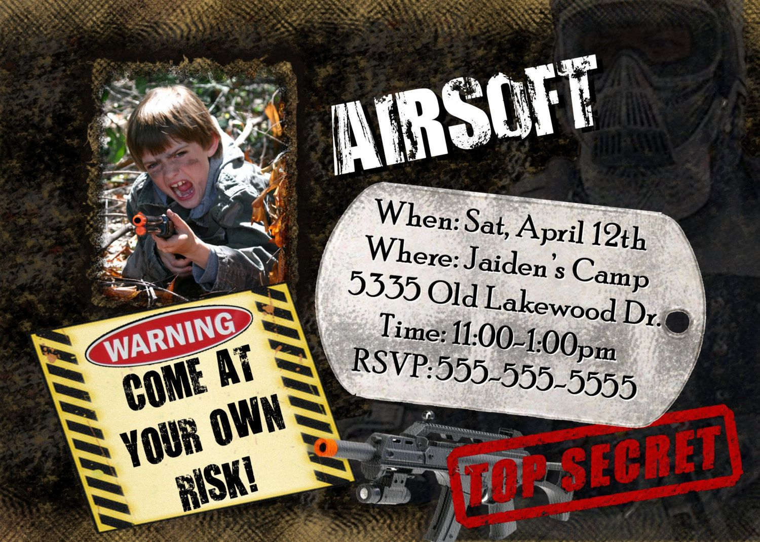 airsoft war invitation birthday party photo invite hunt country
