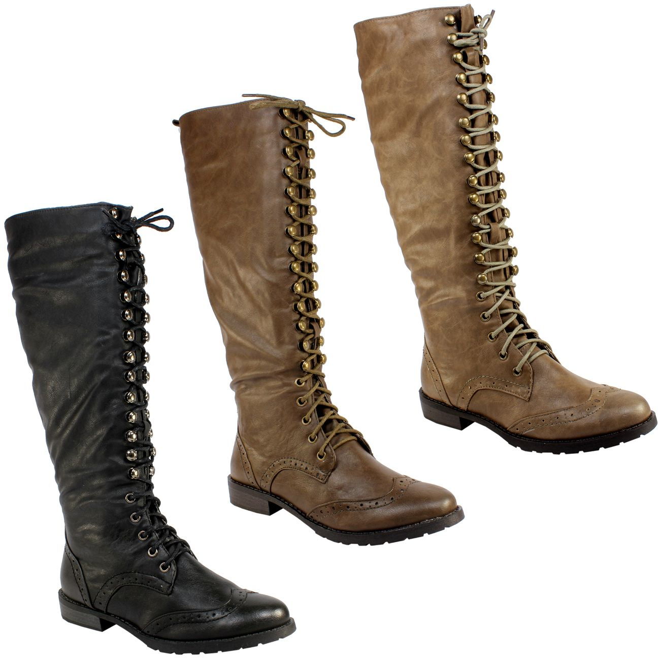 Womens tall lace up knee high military boots ladies new 3-8 | Lace ...