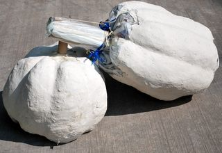 The paper mache clay is being added to the pumpkins    Paper