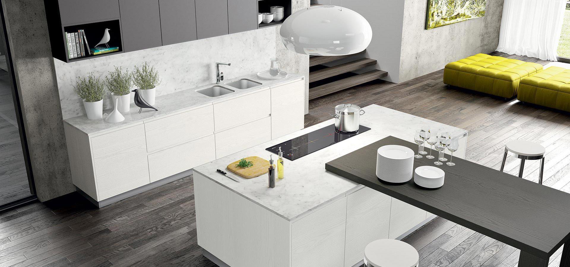 Cucina moderna wega finitura laccato a poro aperto e laccato vulcano opaco piano in marmo di - Cucine in marmo ...