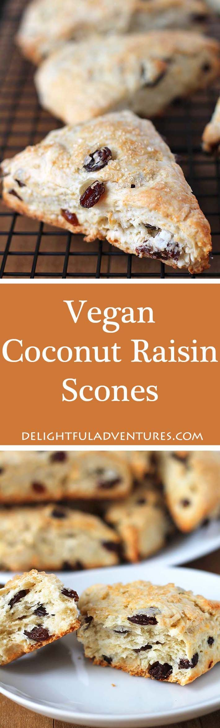 These easy Coconut Raisin Vegan Scones have the perfect texture and are wonderful to enjoy with tea. They're also ideal for serving at breakfast or brunch. via @delighfuladv