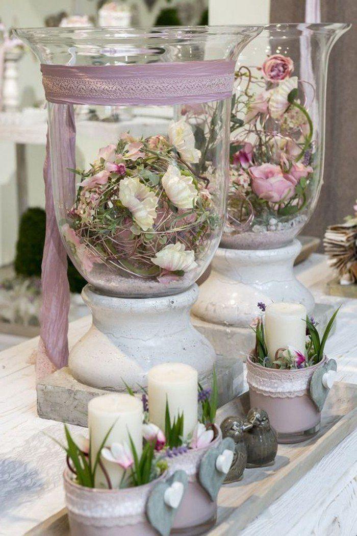 Dekoideen Frühling Kerzen Und Blumen