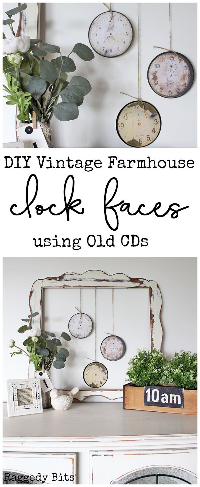 DIY Vintage Farmhouse Clock Faces using Old CDs - Diy vintage decor, Diy vintage, Handmade home decor, Vintage farmhouse, Vintage decor, Farmhouse diy - See a fun way to make DIY Vintage Farmhouse Clock Faces repurposing old CDS to add some Vintage Farmhouse Charm to your home