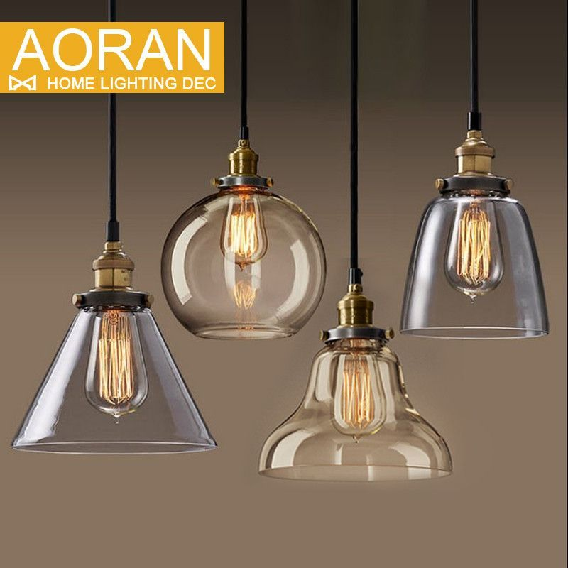 Light Bulb Pendant Copper Glass Restaurant Single Vintage Retractable Wall Lamp