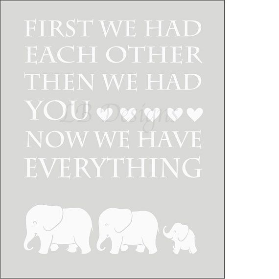 Elephant Twin Nursery Wall Art Nursery Room Decor For Twins: Gender Neutral Gray And White Elephant Nursery Quote By