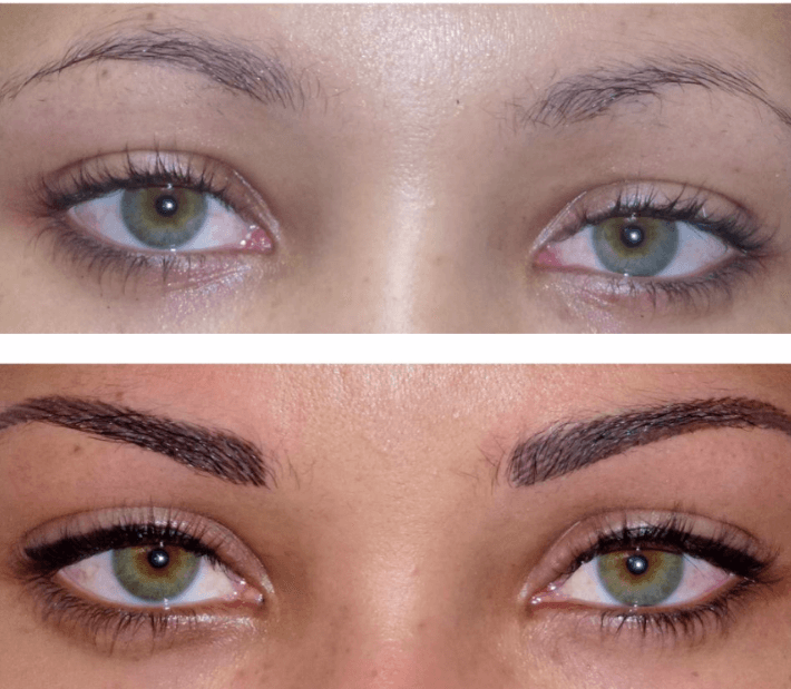 Permanent makeup with permanent eyeliner and eyebrows