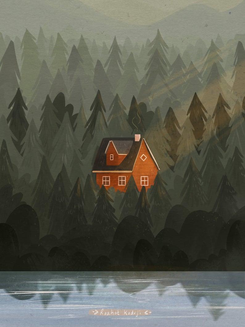 Photo of Nordic Cabin Art Print, Forest Illustration, Norwegian, Hygge Wall Art, Scandi, Scandinavian Decor, Mountain, Home Decor, 6×8″, 8×11″