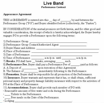Performance contract template filled performer contract for Band booking contract template
