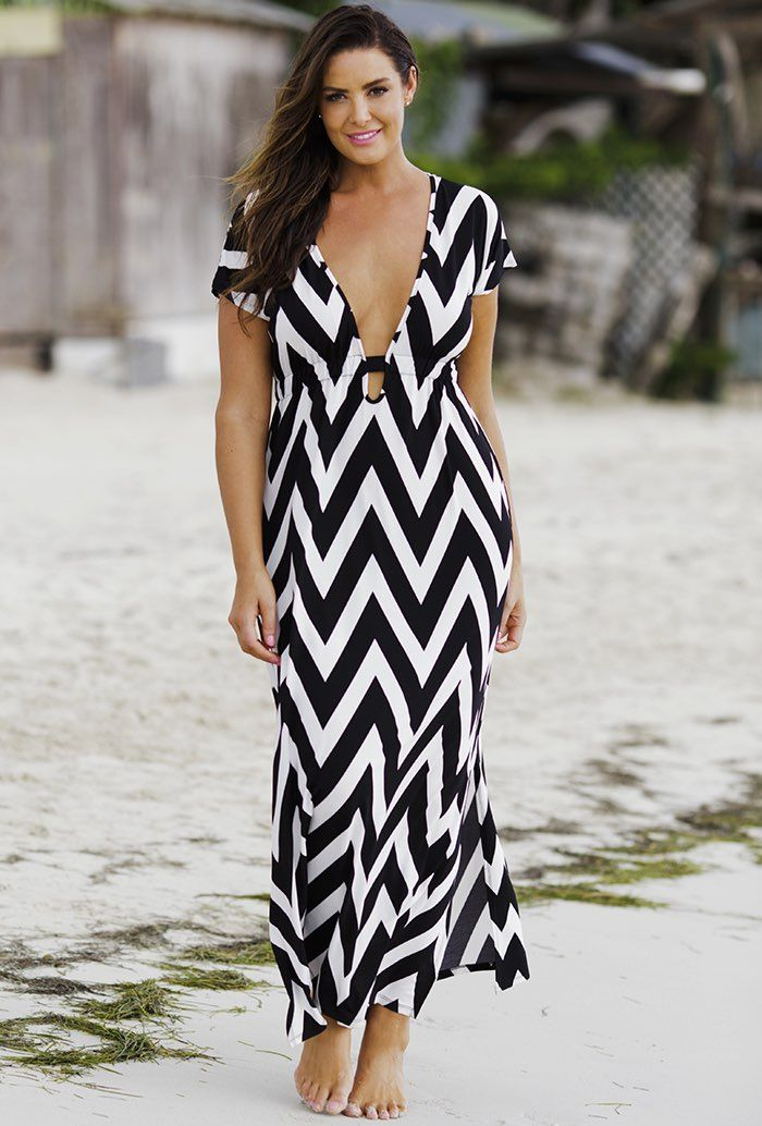 a37529e930 Chevron Plunge Maxi Dress. Find this Pin and more on Looks I love by Lisa  Hudson. Tags. Swimwear Fashion · Plus Size Maxi Dresses