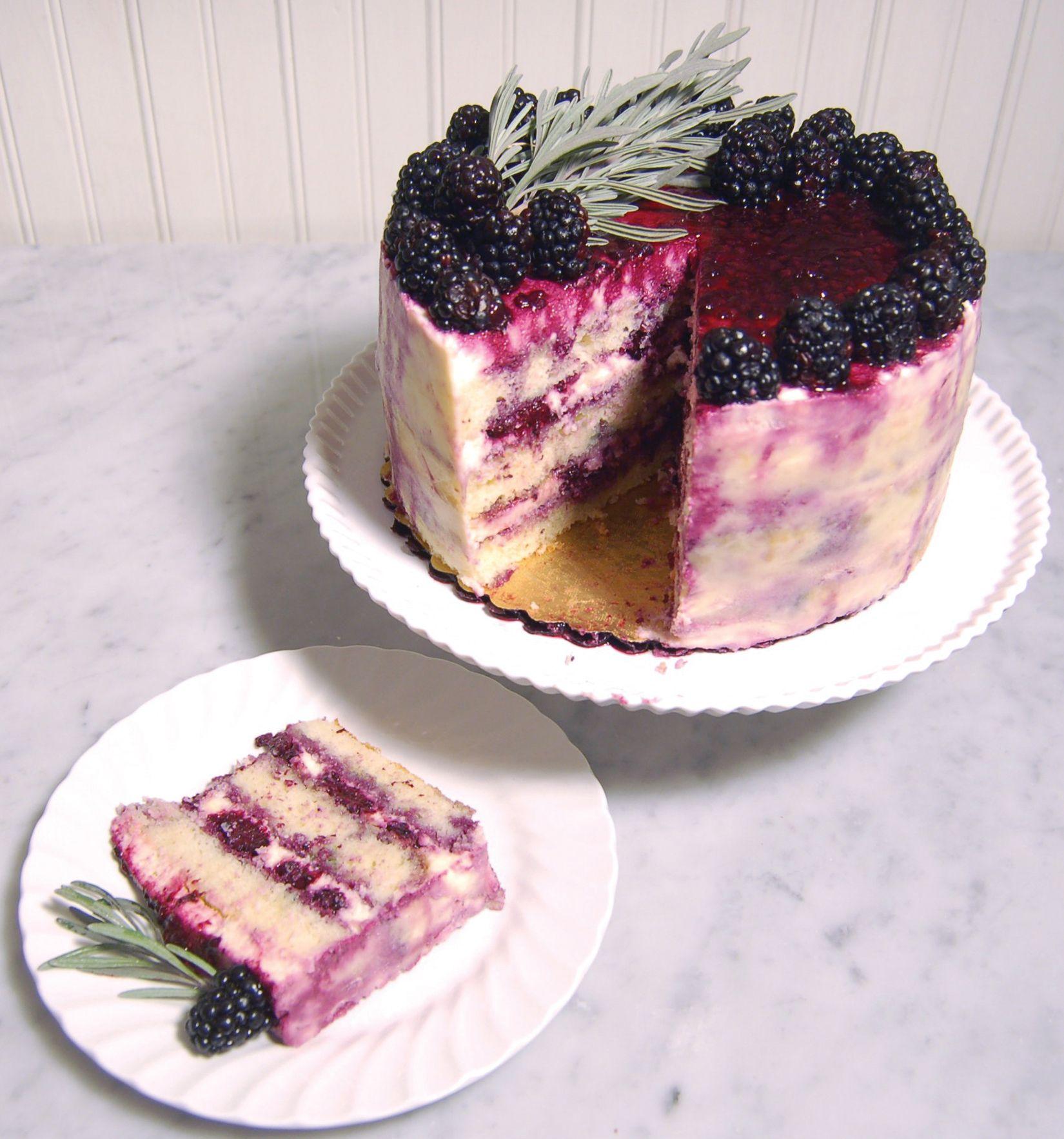 Almond cake mascarpone cream seasonal black berries