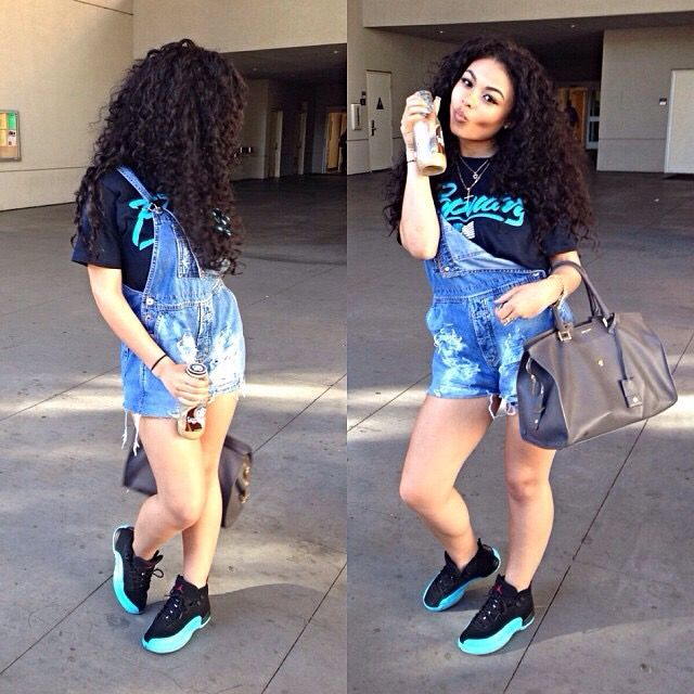 ef394ecc3688 This outfit is dope love the overalls with the jordans which by the way are  super on point