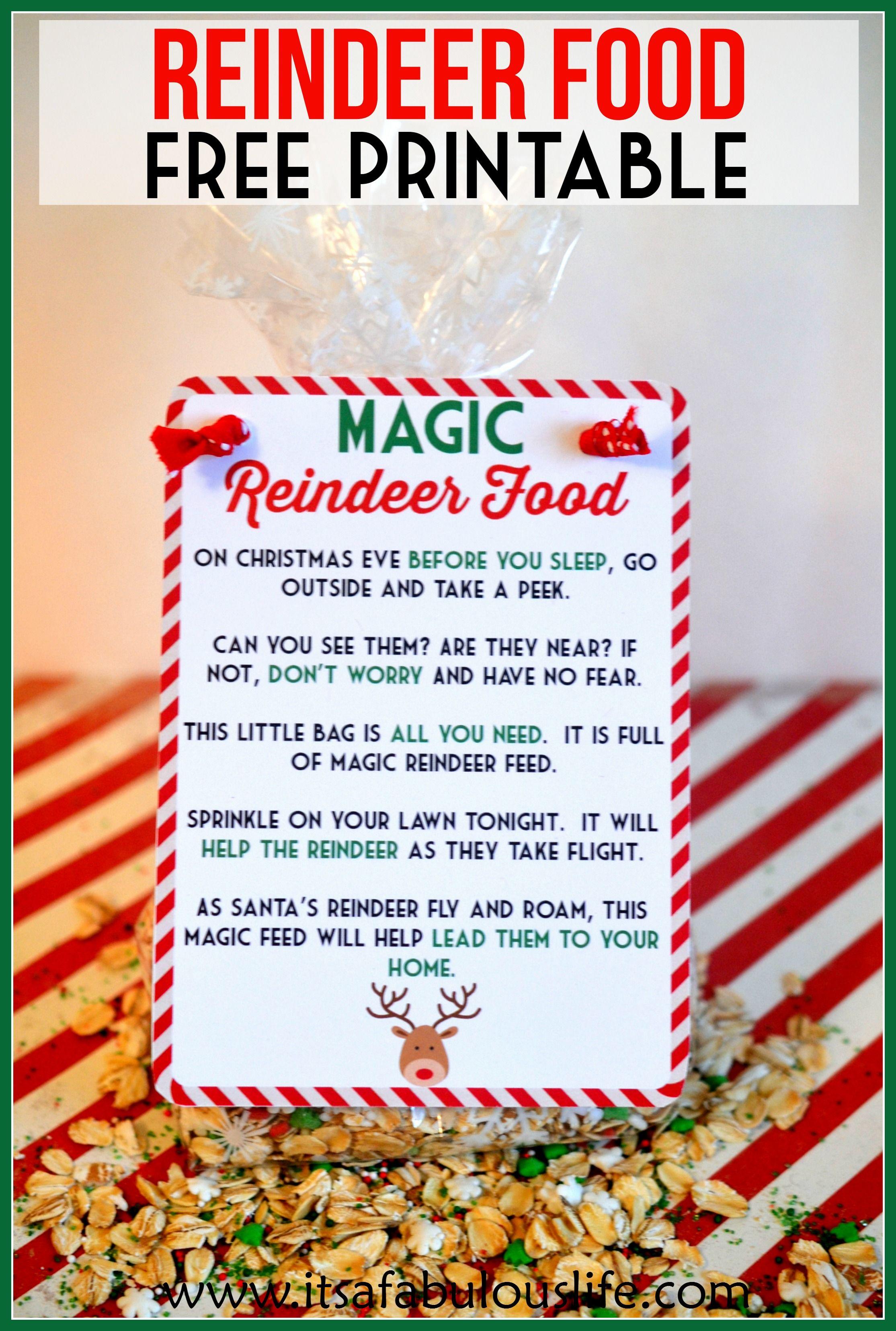 magic reindeer food poem u0026 free printable also includes the