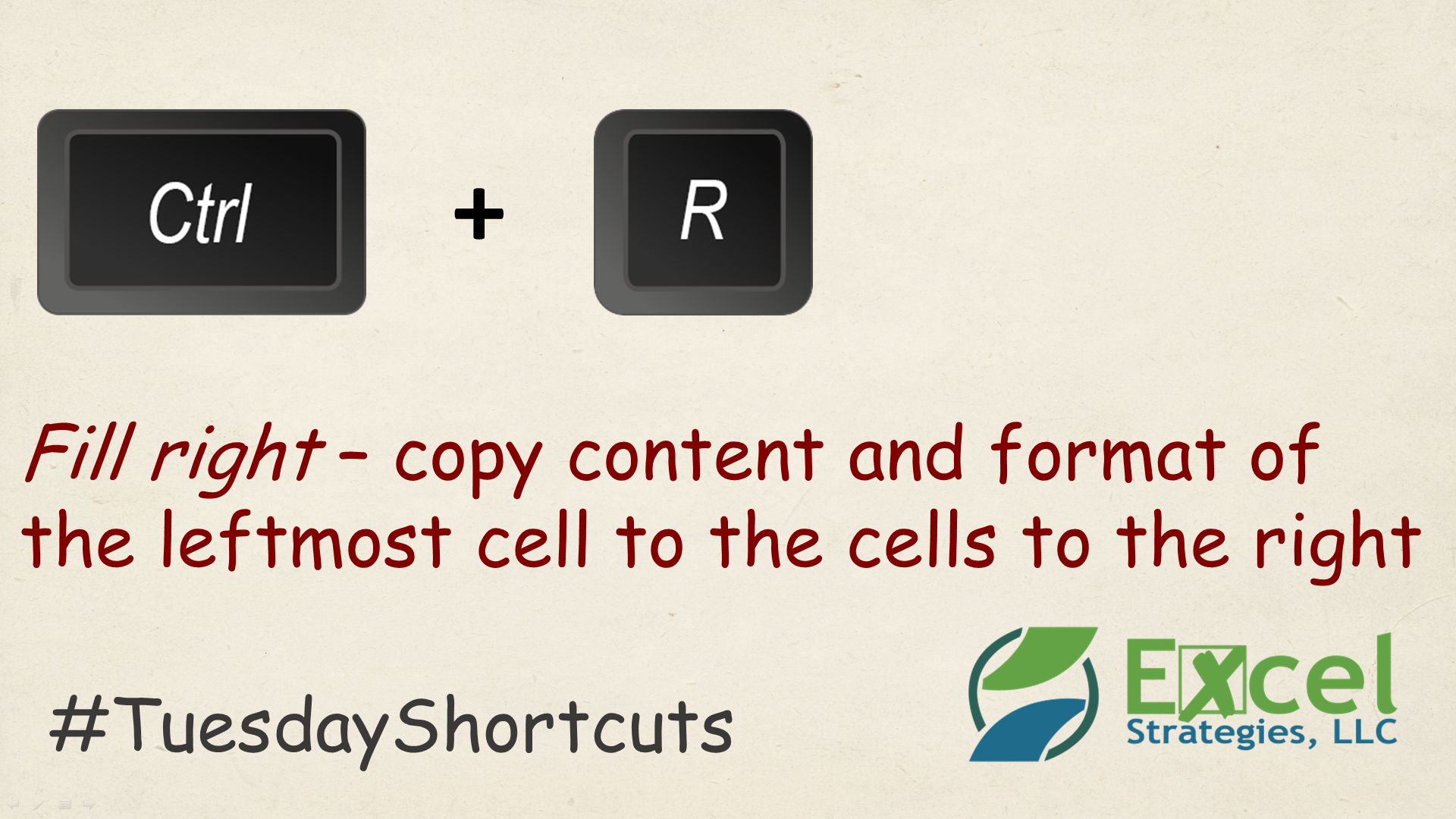 Ctrl R Fill Right In M Cel Tuesdayshortcuts