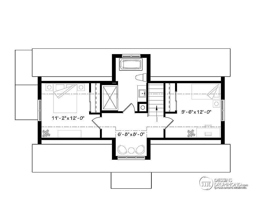 Détail du plan de Maison unifamiliale W3988 plan de maison - image de plan de maison