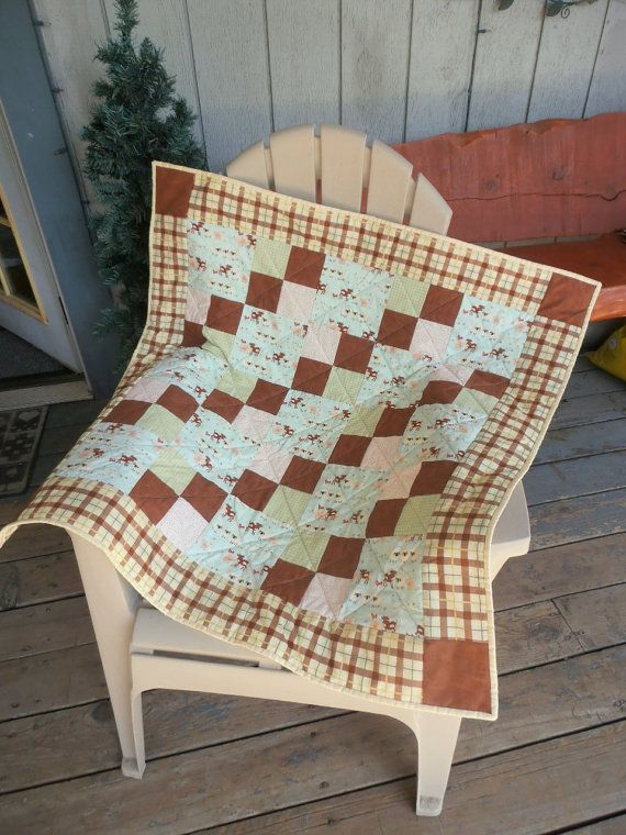 Plaid Baby Quilt: Baby Quilt, Barnyard Animal Quilt, Farm Animal Quilt, Teal