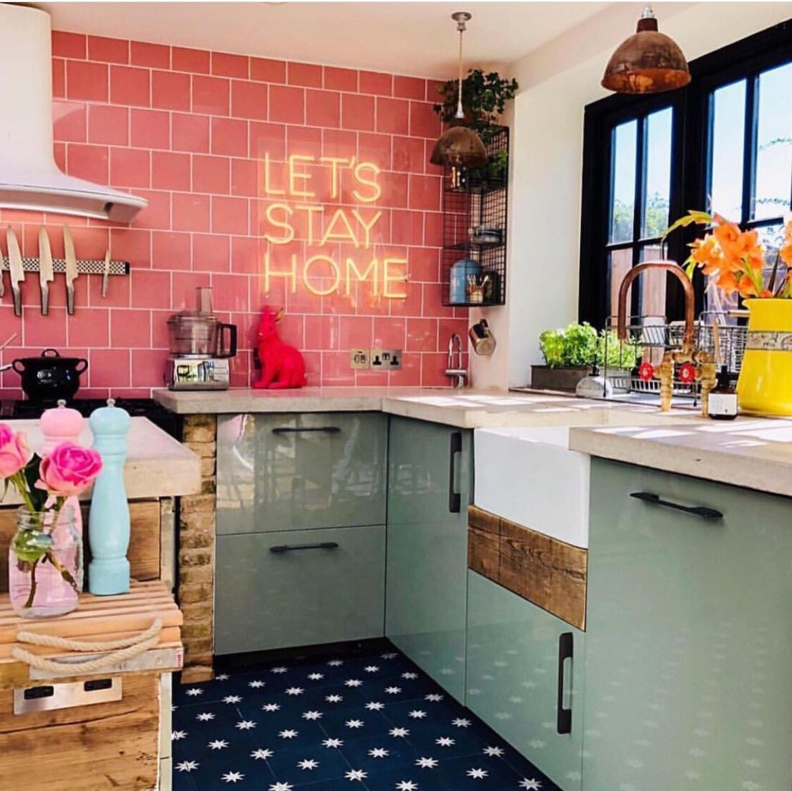 Colorful Pink Whimsical Eclectic Kitchen With Neon Flowers