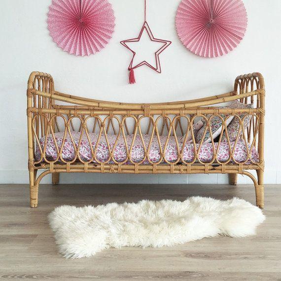 Mid century Cradle crib babybed wodden crib mid century modern
