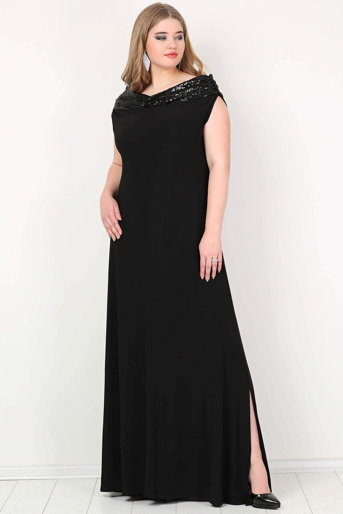 db38a22bec576 KL126P Büyük Beden Öpücük Yaka Payetli Likralı Uzun Abiye Elbise Siyah