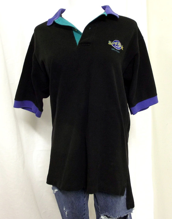 c5151c43 Vintage Hard Rock Cafe Orlando Polo Shirt - Black - purple - green - Preppy  1980's
