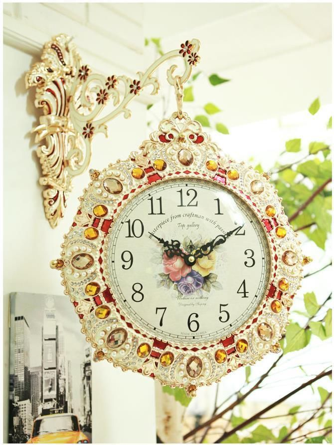 Luxury Wall Double Sided Clock Home Hanging Decoration