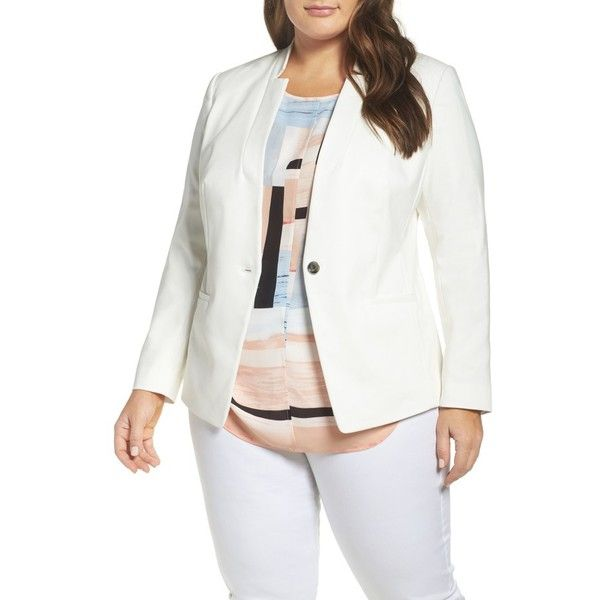 e544ee658bc Plus Size Women s Vince Camuto One-Button Blazer (190 CAD) ❤ liked on  Polyvore featuring outerwear
