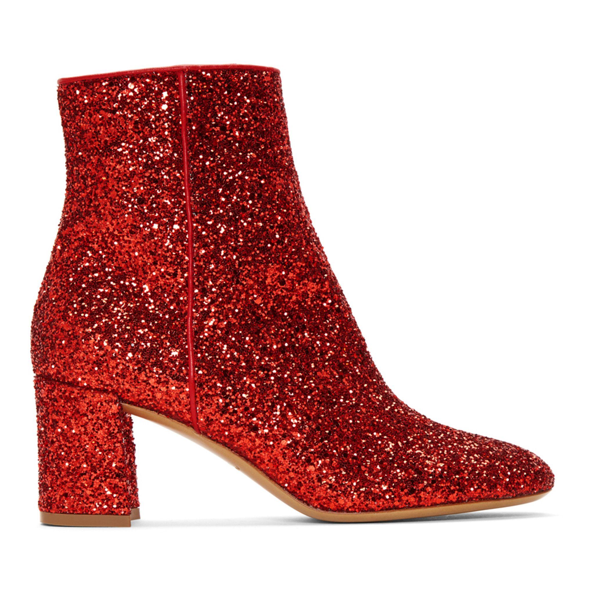 Mansur Gavriel - Red Glitter Boots