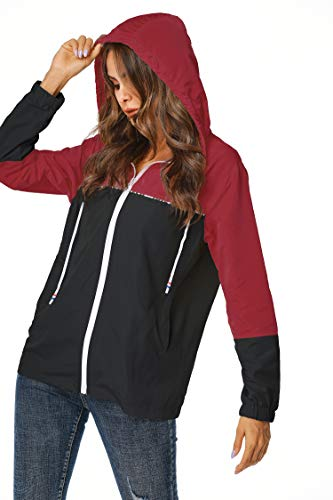 ZEGOLO Rain Jacket Women Waterproof Raincoat Lightweight with Hood Packable Outdoor Windbreaker