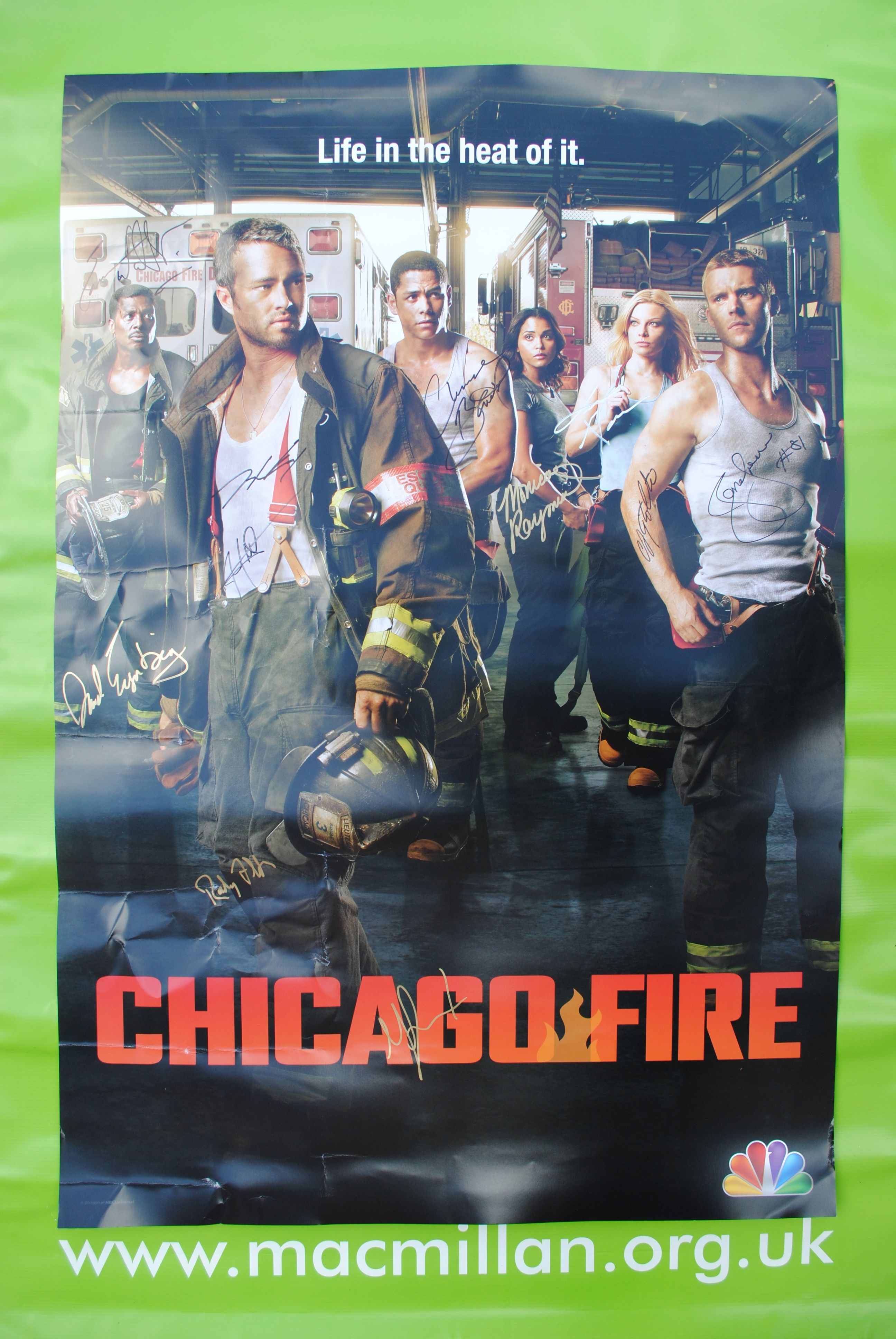 Item 054 NBC's Chicago Fire Signed Poster Kindly