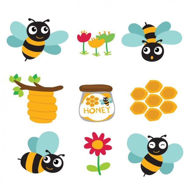 Diseños a color de abejas y miel Vector Gratis   ANIMALES ...