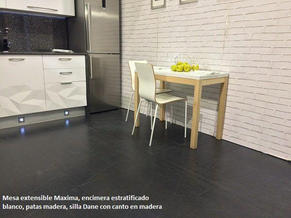 mesa para cocinas estrechas y alargadas en blanco y madera | Cosas ...