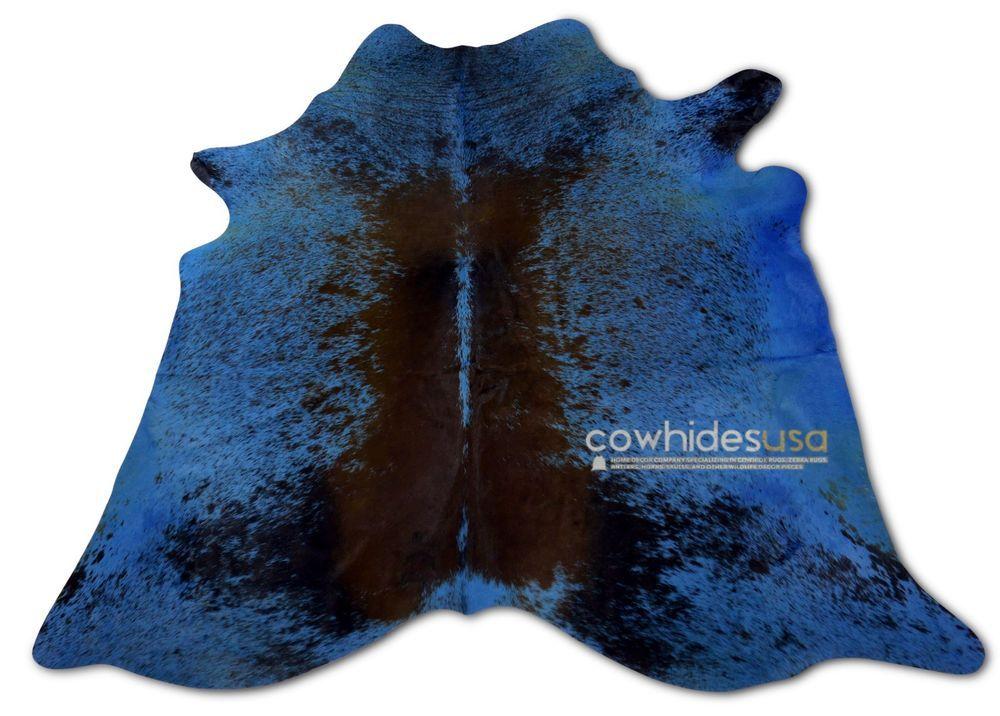 Blue Cowhide Rug Size 6 5 X 6 Ft Dyed Blue Speckled Cow Hide Rug