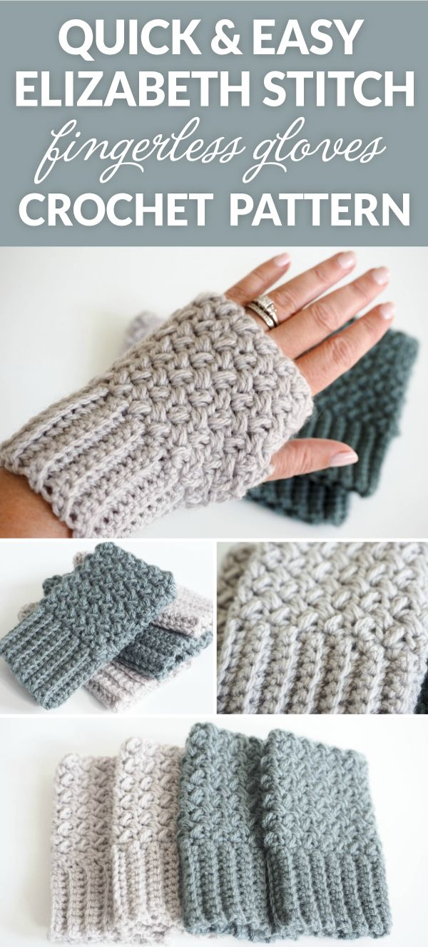 Crochet Gloves With Finger Holes >> Easy Elizabeth Stitch Fingerless Gloves Crochet Pattern | Fingerless gloves crochet pattern ...