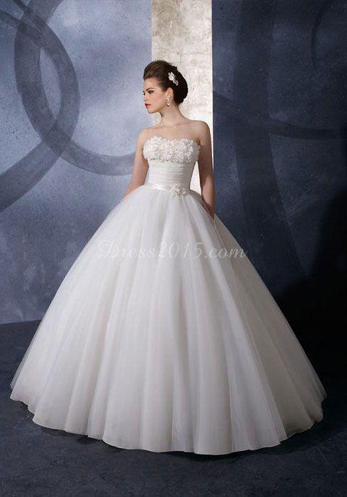 24b1806139d Vintage Ball Gown Ruched Flower Organza Wedding Dress