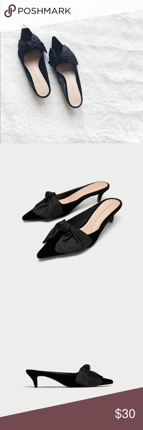 Brand New Zara Kitten Heel Mules With Bow Kitten Heels Heels Heeled Mules